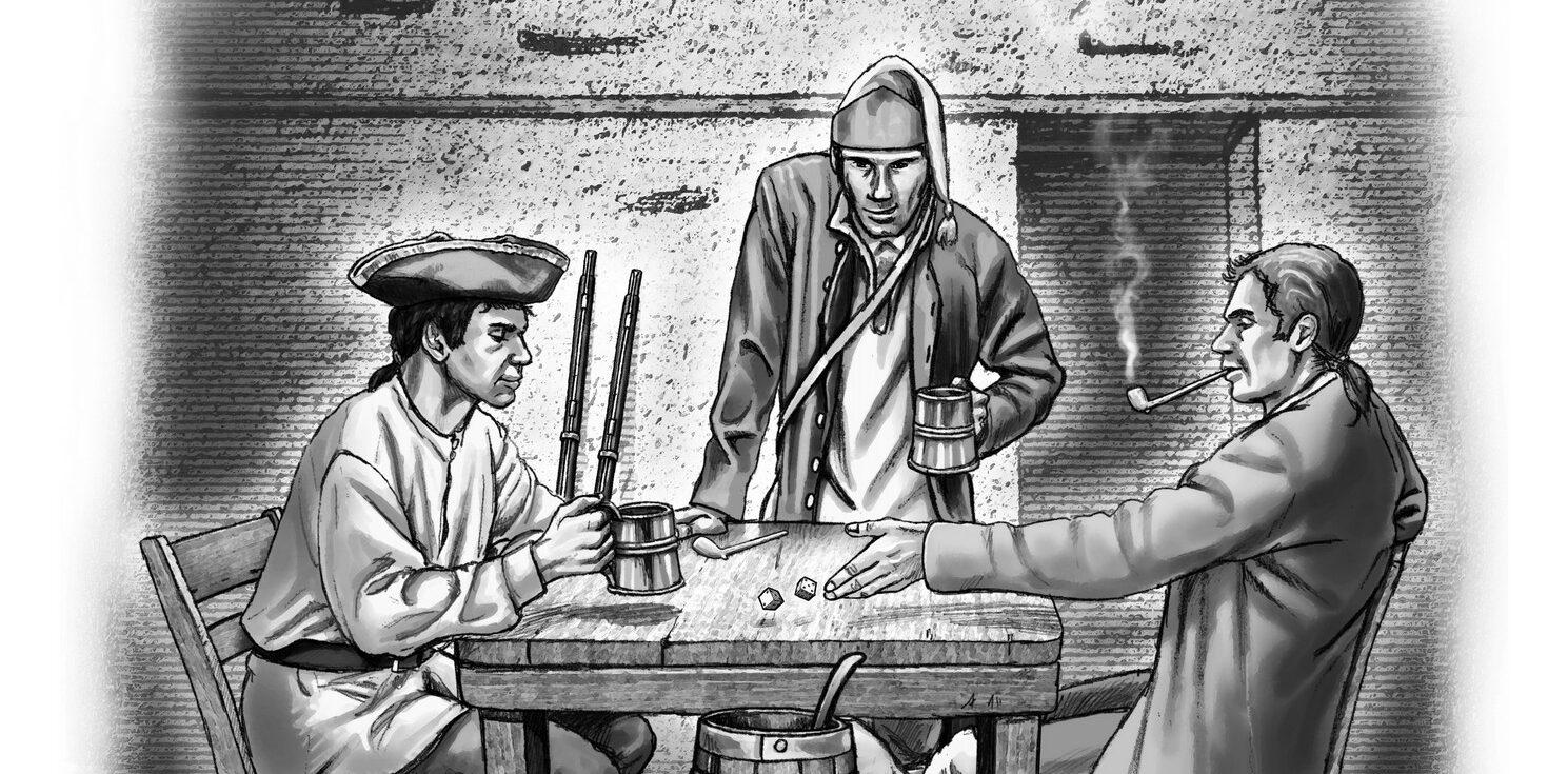 Illustration créée par Jean-Michel Girard pour le livre Bacchus en Canada. Boissons, buveurs et ivresses en Nouvelle-France  de Catherine Ferland, paru aux éditions du Septentrion
