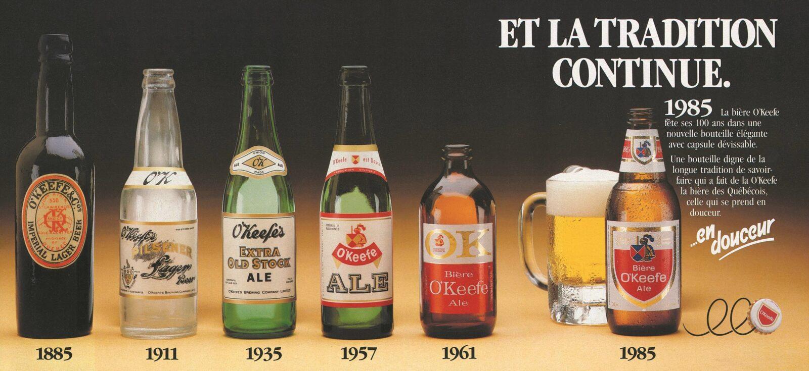 Cette publicité témoigne de l'évolution de la bouteille de bière commercialisée par la compagnie O'Keefe sur un siècle.